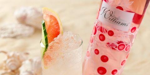 Liquid, Drink, Drinkware, Pink, Food, Produce, Ingredient, Glass, Cocktail, Peach,
