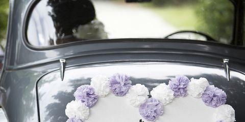 Purple, Lavender, Violet, Classic car, Trunk, City car, Automotive side-view mirror, Silver, Classic, Antique car,