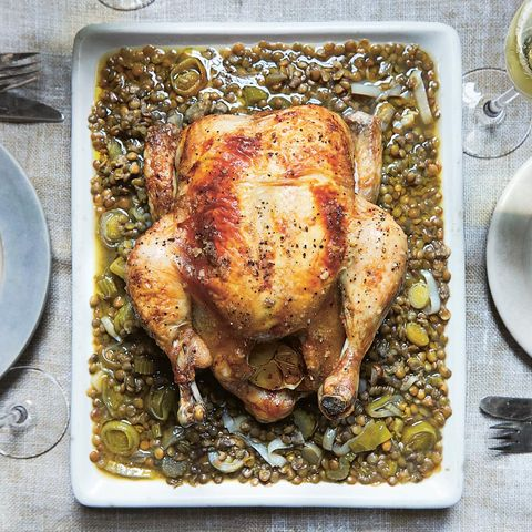 Cosy Roasted Chicken and Green Lentils