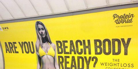Yellow, Human body, Brassiere, Swimwear, Bikini, Undergarment, Swimsuit top, Advertising, Abdomen, Lingerie,