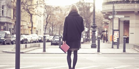 Clothing, Road, Infrastructure, Street, Textile, Photograph, Standing, Urban area, Outerwear, Human leg,