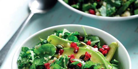 Salad, Green, Food, Dishware, Produce, Leaf vegetable, Ingredient, Vegetable, Cuisine, Garden salad,