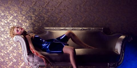 Human body, Human leg, Sitting, Purple, Thigh, Model, High heels, Fashion model, Photo shoot, Velvet,
