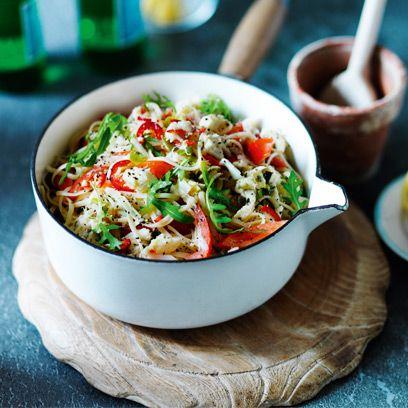 Linguine with crab, chilli, lemon and rocket recipe