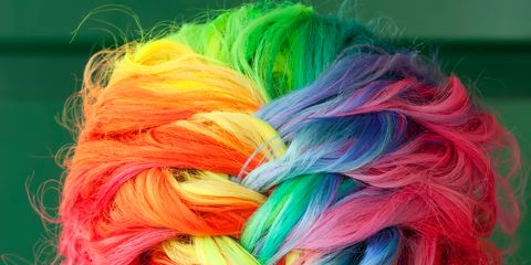 Hairstyle, Yellow, Green, Textile, Red, Colorfulness, Style, Magenta, Orange, Hair coloring,