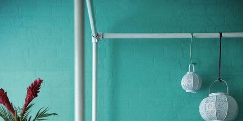 Blue, Green, Room, Interior design, Textile, Wall, Teal, Linens, Aqua, Turquoise,