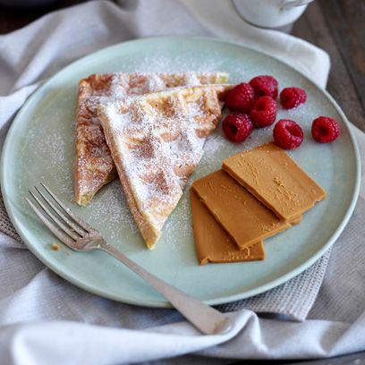 Valentine Warner's waffles with Norwegian brown cheese
