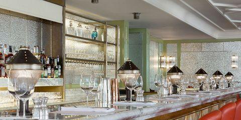 Interior design, Room, Glass, Barware, Ceiling, Tablecloth, Interior design, Light fixture, Serveware, Home accessories,