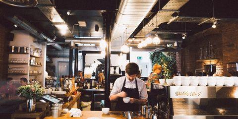 Lighting, Restaurant, Barware, Countertop, Houseplant, Plate, Kitchen appliance, Customer, Coffeehouse, Barista,
