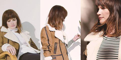 Hairstyle, Sleeve, Style, Collar, Fashion, Street fashion, Bangs, Blazer, Beige, Waist,