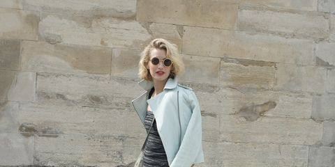 Clothing, Footwear, Sleeve, Shoe, Standing, Outerwear, White, Sunglasses, Style, Collar,