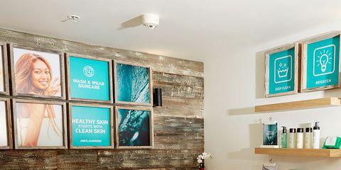 Room, Interior design, Wall, Shelf, Shelving, Ceiling, Linens, Bed, Teal, Bedding,
