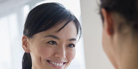 Ear, Hairstyle, Skin, Eyebrow, Happy, Eyelash, Tooth, Neck, Black hair, Makeover,