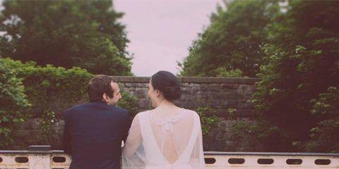 Clothing, Dress, Bridal clothing, Trousers, Shoulder, Coat, Photograph, Wedding dress, Bride, Suit,