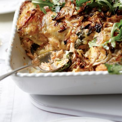 Salmon lasagne with caramelised fennel and rocket salad recipe