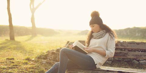 Leg, Nature, Jeans, Shoe, Sitting, Denim, Photograph, Human leg, Bench, People in nature,