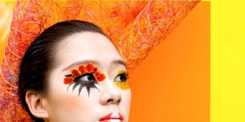 Ear, Lip, Forehead, Orange, Eyelash, Style, Headgear, Neck, Colorfulness, Eye shadow,