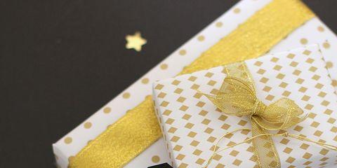 Yellow, Pattern, Paper product, Design, Paper, Pattern, Craft, Present, Embellishment, Ribbon,