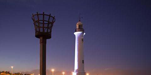 Tower, Architecture, Night, Horizon, Landmark, Urban area, Evening, Street light, Dusk, Observation tower,
