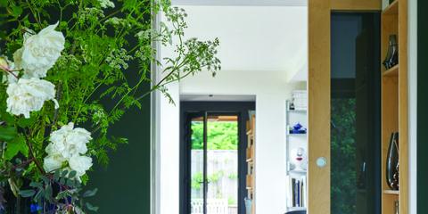 Blue, Room, Table, Door, Floor, Fixture, Flowerpot, House, Teal, Bouquet,