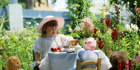 Hat, Furniture, Garden, Table, Outdoor furniture, Outdoor table, Shrub, Sun hat, Toy, Serveware,