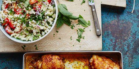 Food, Cuisine, Dish, Recipe, Ingredient, Salad, Chicken meat, Cooking, Meal, Kitchen utensil,