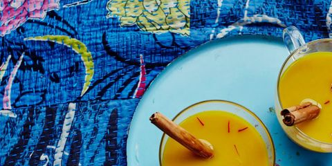 Blue, Yellow, Dishware, Serveware, Kitchen utensil, Cutlery, Plate, Home accessories, Peach, Paint,