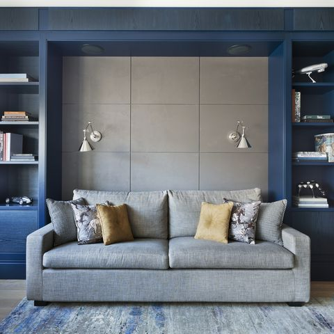 Blue, Room, Wood, Interior design, Shelf, Living room, Wall, Furniture, Shelving, Couch,