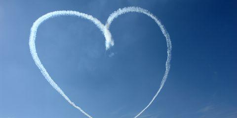Daytime, Event, Atmosphere, Air show, Heart, Air sports, Flight, Aerobatics, Love, Air travel,