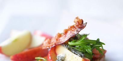 Food, Finger food, Ingredient, Tableware, Dishware, Plate, Vegetable, Bruschetta, Produce, Recipe,
