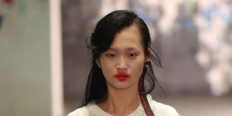 Sleeve, Street fashion, Waist, Long hair, Trunk, Fashion design, Embellishment, Fashion model, Belt, Makeover,