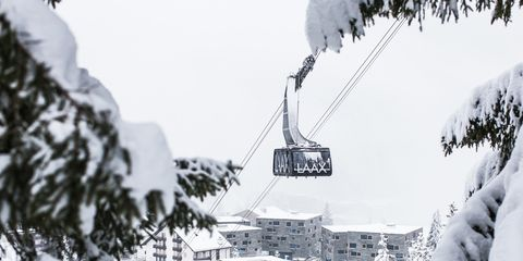 Snow, Winter, White, Cable car, Hill station, Tree, Freezing, Sky, Black-and-white, Geological phenomenon,