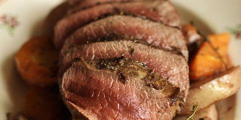Food, Ingredient, Beef, Pork, Meat, Dishware, Roast beef, Flat iron steak, Carne asada, Cooking,