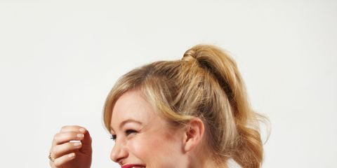Hair, Hairstyle, Blond, Chin, Neck, Gesture, Ear, Sitting, Happy,