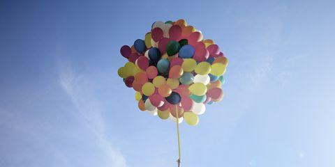 Sky, Balloon, Pink, Cloud, Toy, Flower, Plant, Meteorological phenomenon,