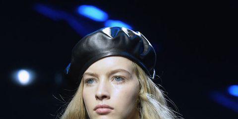 Hair, Fashion, Beauty, Blond, Lip, Hairstyle, Runway, Eyebrow, Fashion model, Electric blue,