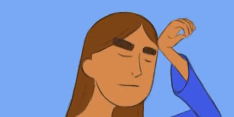 Cartoon, Shoulder, Neck, Arm, Human, Illustration, Electric blue, Finger, Muscle, Fictional character,