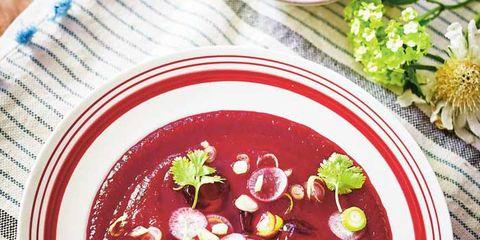 Food, Ingredient, Dishware, Dish, Garnish, Serveware, Condiment, Recipe, Borscht, Spoon,