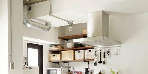 Furniture, White, Room, Property, Interior design, Kitchen, Cabinetry, Building, Countertop, Shelf,