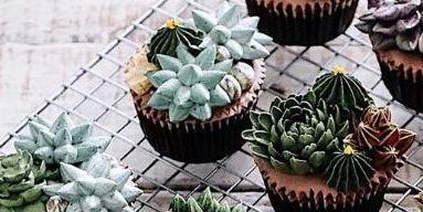 Sweetness, Cupcake, Baking cup, Dessert, Flowerpot, Teal, Baked goods, Confectionery, Baking, Recipe,