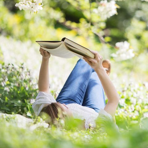People in nature, Sitting, Sunlight, Reading, Spring, Grass, Leg, Lawn, Tree, Meadow,