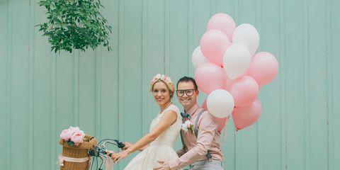 Balloon, Photograph, Green, Pink, Party supply, Wedding dress, Happy, Ceremony, Dress, Wedding,