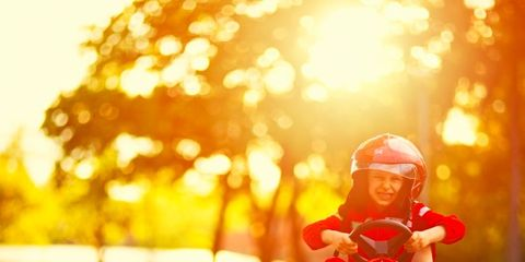 Red, Vehicle, Tricycle, Sunlight, Go-kart,