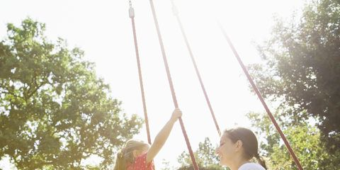 Swing, People in nature, Outdoor play equipment, Leisure, Sitting, Fun, Sunlight, Grass, Tree, Summer,