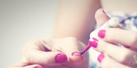 Nail, Pink, Skin, Hand, Finger, Lip, Nail polish, Nail care, Beauty, Purple,