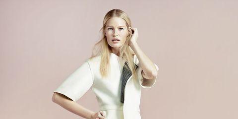 White, Clothing, Fashion model, Shoulder, Fashion, Dress, Photo shoot, Standing, Joint, Footwear,