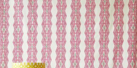 Interior design, Curtain, Pink, Wallpaper, Pattern, Yellow, Textile, Polka dot, Room, Design,