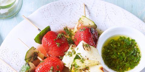 Dish, Food, Cuisine, Ingredient, Salad, Caprese salad, Strawberry, Mozzarella, Produce, Vegetable,