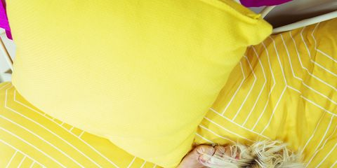Yellow, Textile, Linens, Peach, Happy, Pillow, Bed sheet,