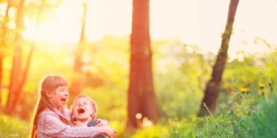 People in nature, Photograph, Natural landscape, Child, Happy, Sunlight, Photography, Tree, Grass, Love,